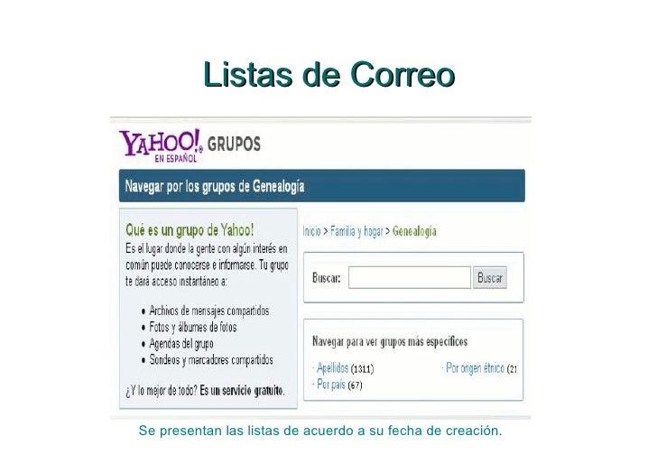 Listas de Correo Se presentan las listas de acuerdo a su fecha de creación.