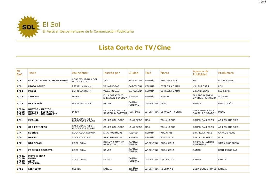 1 de 6                                                               Lista Corta de TV/Cine   Nº                          ...