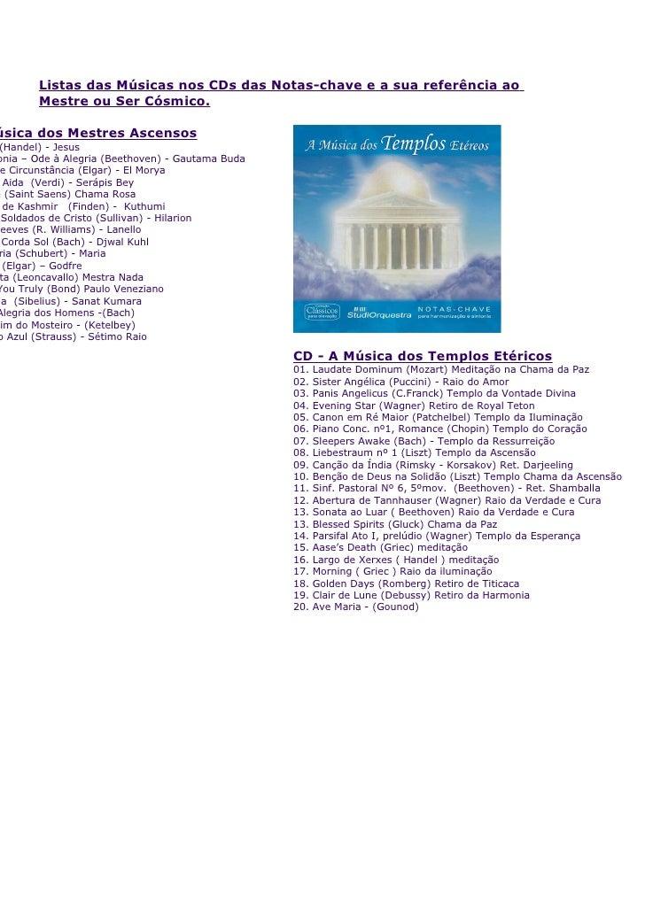 Listas das Músicas nos CDs das Notas-chave e a sua referência ao         Mestre ou Ser Cósmico.  úsica dos Mestres Ascenso...