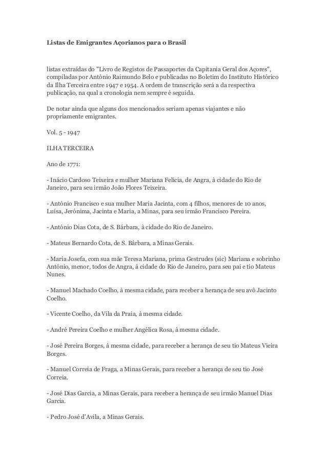 """Listas de Emigrantes Açorianos para o Brasil  listas extraídas do """"Livro de Registos de Passaportes da Capitania Geral dos..."""