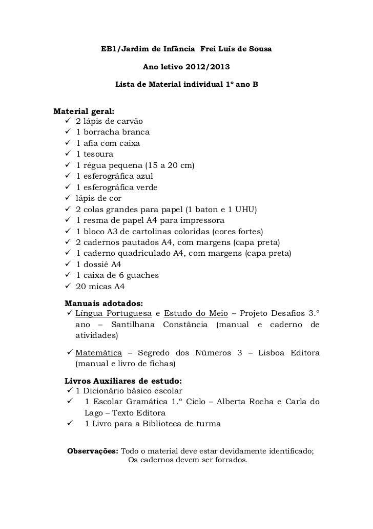 EB1/Jardim de Infância Frei Luís de Sousa                      Ano letivo 2012/2013               Lista de Material indivi...