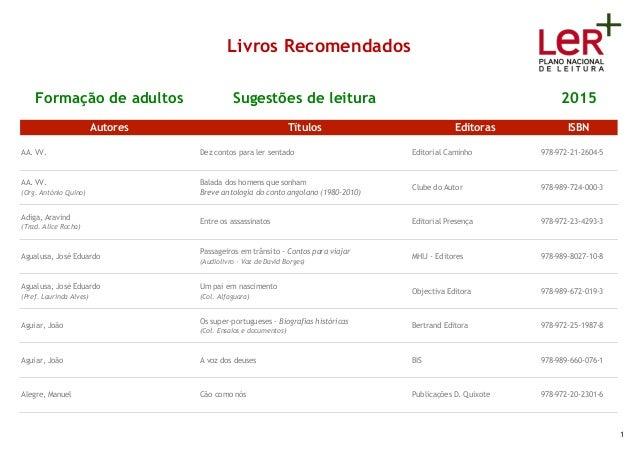 Livros Recomendados Formação de adultos Sugestões de leitura 2015 Autores Títulos Editoras ISBN AA. VV. Dez contos para le...