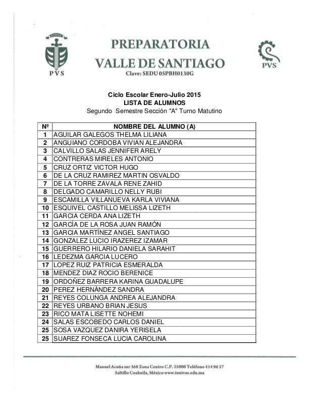 "Ciclo Escolar Enero-Julio 2015 LISTA DE ALUMNOS Segundo Semestre Sección ""A"" Turno Matutino Nº NOMBRE DEL ALUMNO (A) 1 AGU..."