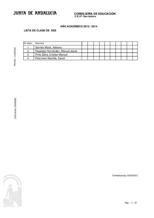 CONSEJERÍA DE EDUCACIÓNRef.Doc.:ListaClaseCód.Centro:23003922 1 /Pág : C.E.I.P. San Isidoro Torredelcampo, 03/09/2013 27 E...