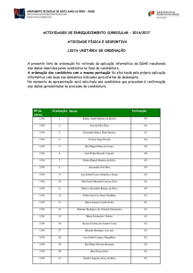 ACTIVIDADES DE ENRIQUECIMENTO CURRICULAR – 2016/2017 ATIVIDADE FÍSICA E DESPORTIVA LISTA UNITÁRIA DE ORDENAÇÃO A presente ...