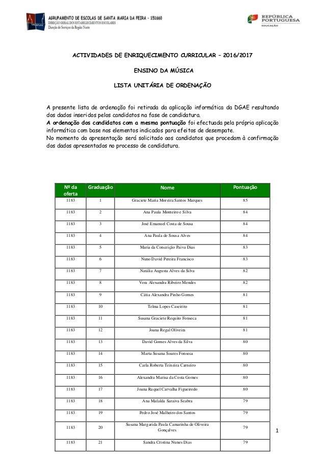 1 ACTIVIDADES DE ENRIQUECIMENTO CURRICULAR – 2016/2017 ENSINO DA MÚSICA LISTA UNITÁRIA DE ORDENAÇÃO A presente lista de or...