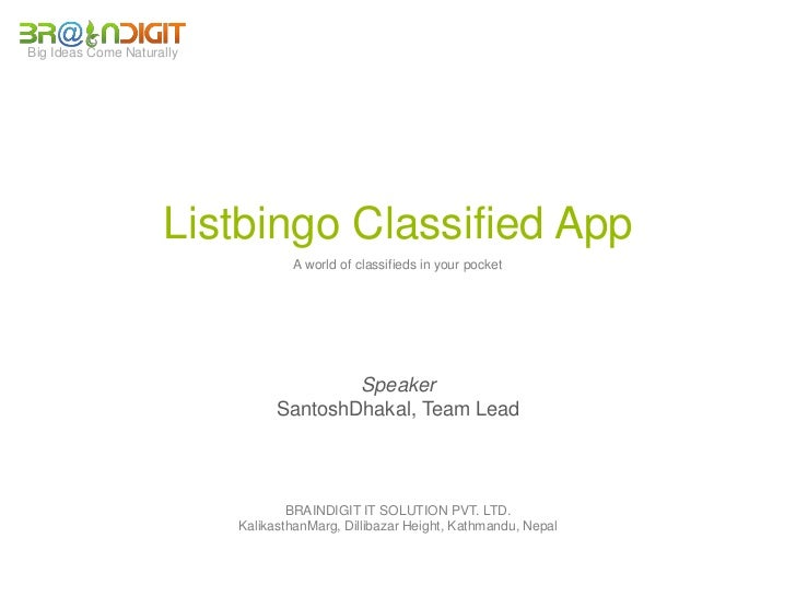 Big Ideas Come Naturally                     Listbingo Classified App                                   A world of classif...
