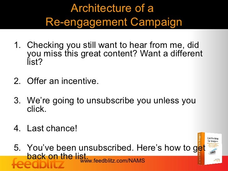 Architecture of a        Re-engagement Campaign1. Checking you still want to hear from me, did   you miss this great conte...
