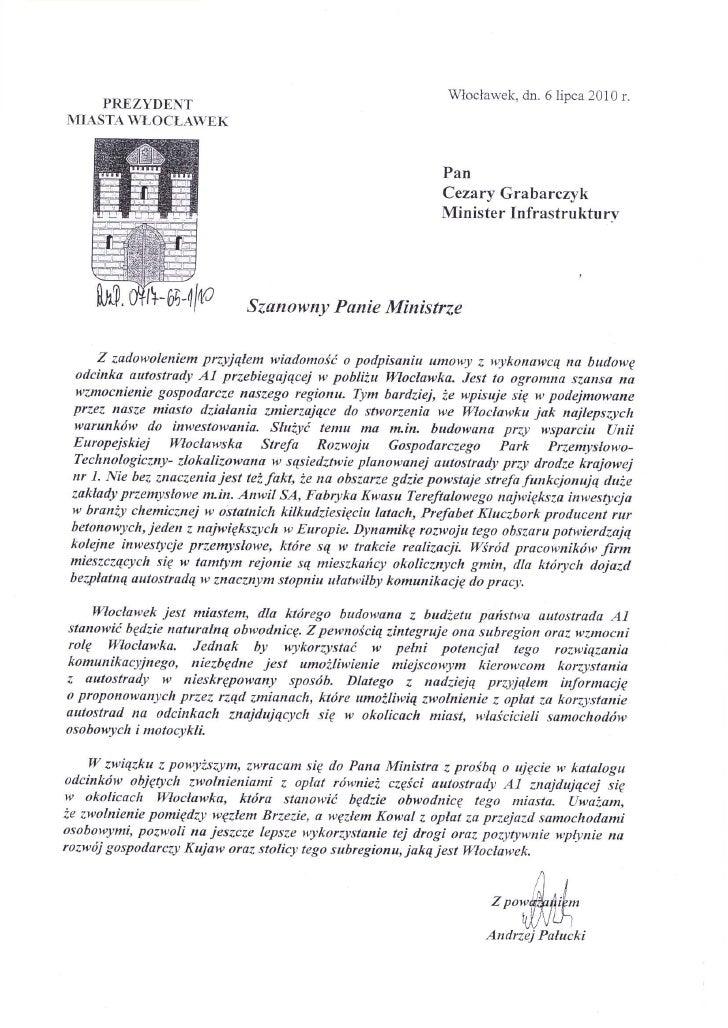 List do ministra infrastruktury
