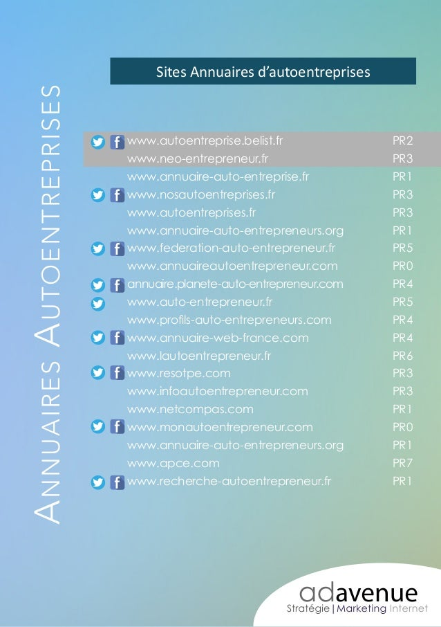 A nnuaires A utoentreprises  Sites Annuaires d'autoentreprises  www.autoentreprise.belist.fr PR2 www.neo-entrepreneur.f...