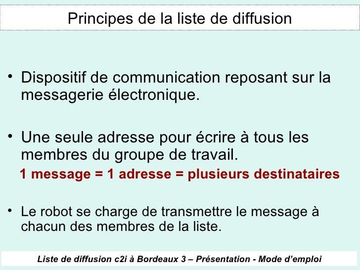 Liste de diffusion c2i bordeaux 3 for Liste de diffusion