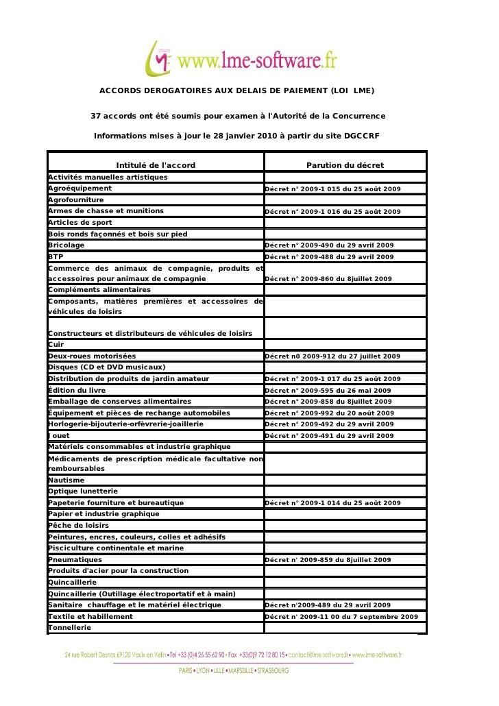 ACCORDS DEROGATOIRES AUX DELAIS DE PAIEMENT (LOI LME)               37 accords ont été soumis pour examen à l'Autorité de ...
