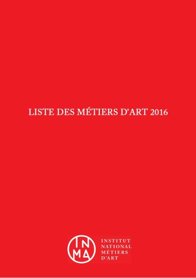Liste des Métiers d'Art 2016