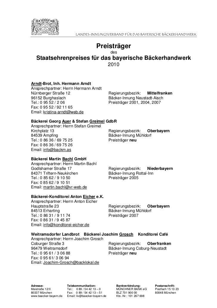 LANDES-INNUNGSVERBAND FÜR DAS BAYERISCHE BÄCKERHANDWERK                                            Preisträger            ...