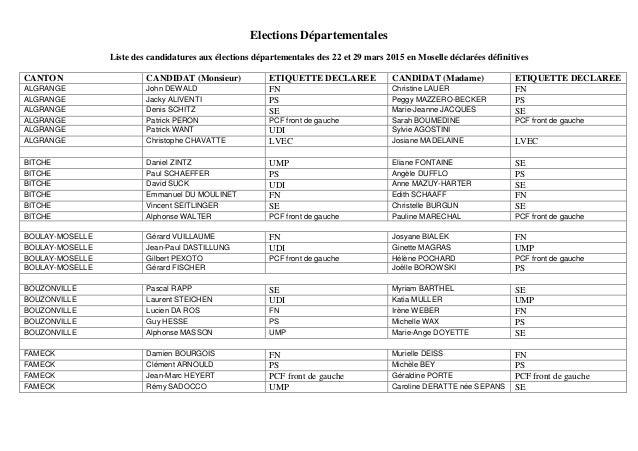 Elections Départementales Liste des candidatures aux élections départementales des 22 et 29 mars 2015 en Moselle déclarées...