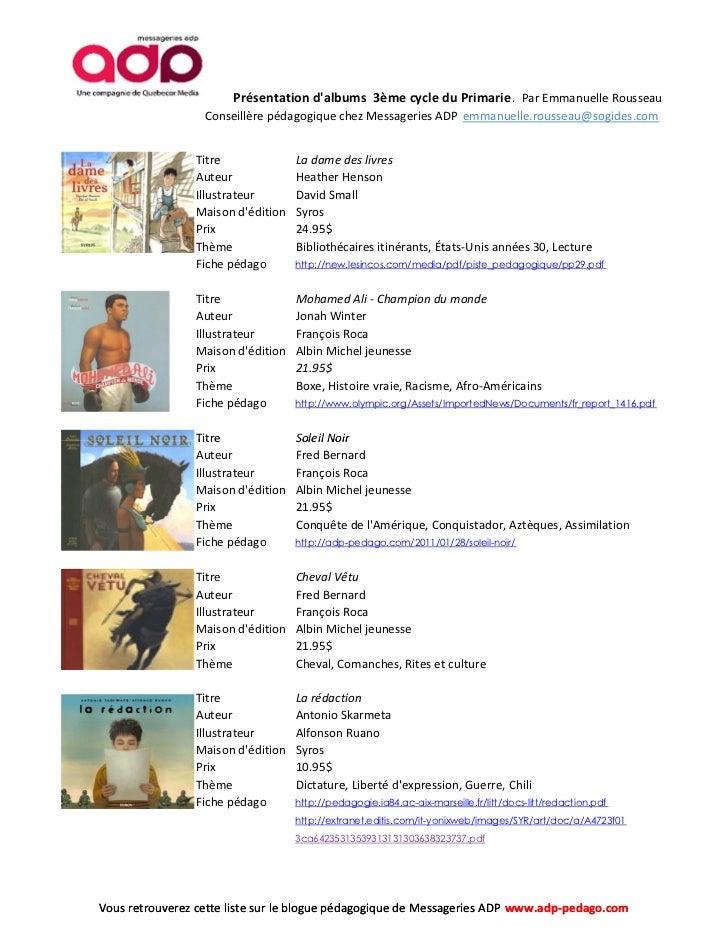 Liste d'albums 3ème cycle primaire.  Liste détaillée. Slide 2