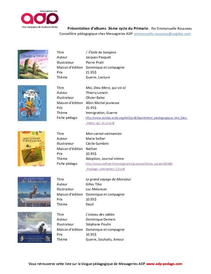 Liste d'albums 3ème cycle primaire.  Liste détaillée. Slide 3