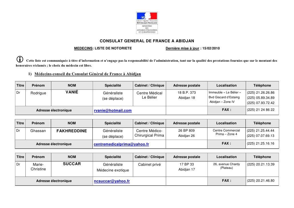 CONSULAT GENERAL DE FRANCE A ABIDJAN                                       MEDECINS: LISTE DE NOTORIETE                   ...