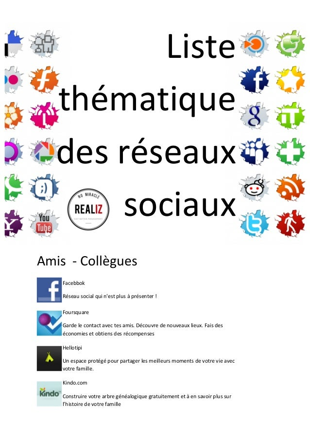 Liste   thématique   des  réseaux   sociaux        Amis    -‐  Collègues      Facebbok   Réseau...