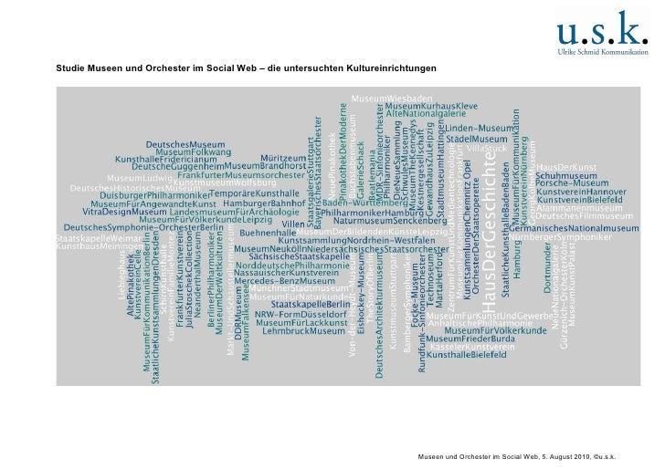 Studie Museen und Orchester im Social Web – die untersuchten Kultureinrichtungen                                          ...