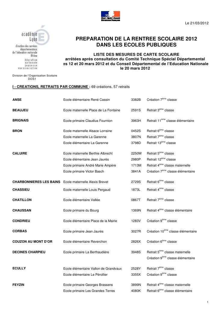 Le 21/03/2012                                              PREPARATION DE LA RENTREE SCOLAIRE 2012                        ...
