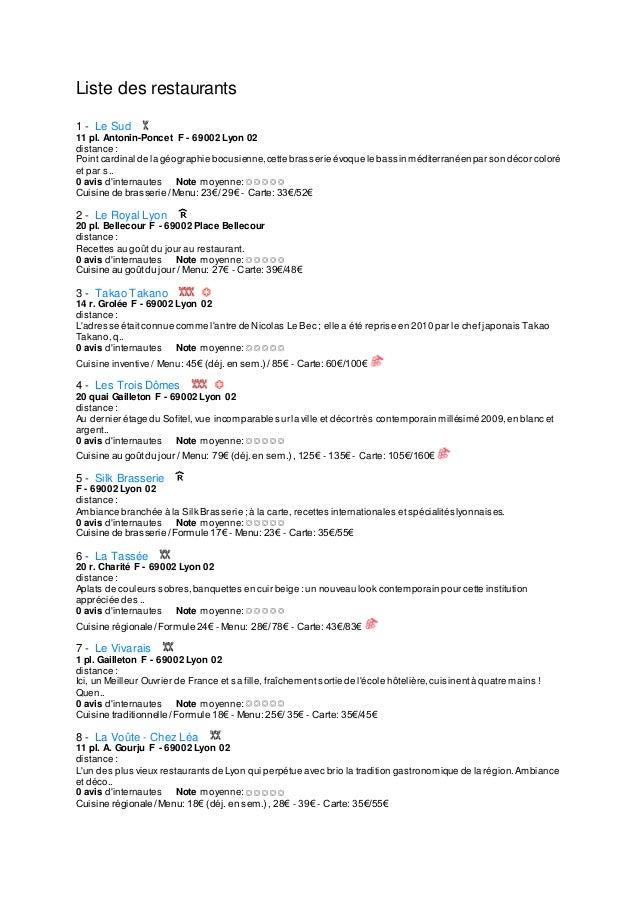 Liste des restaurants 1 1 - Le Sud 11 pl. Antonin-Poncet F - 69002 Lyon 02 distance : Point cardinal de la géographie bocu...