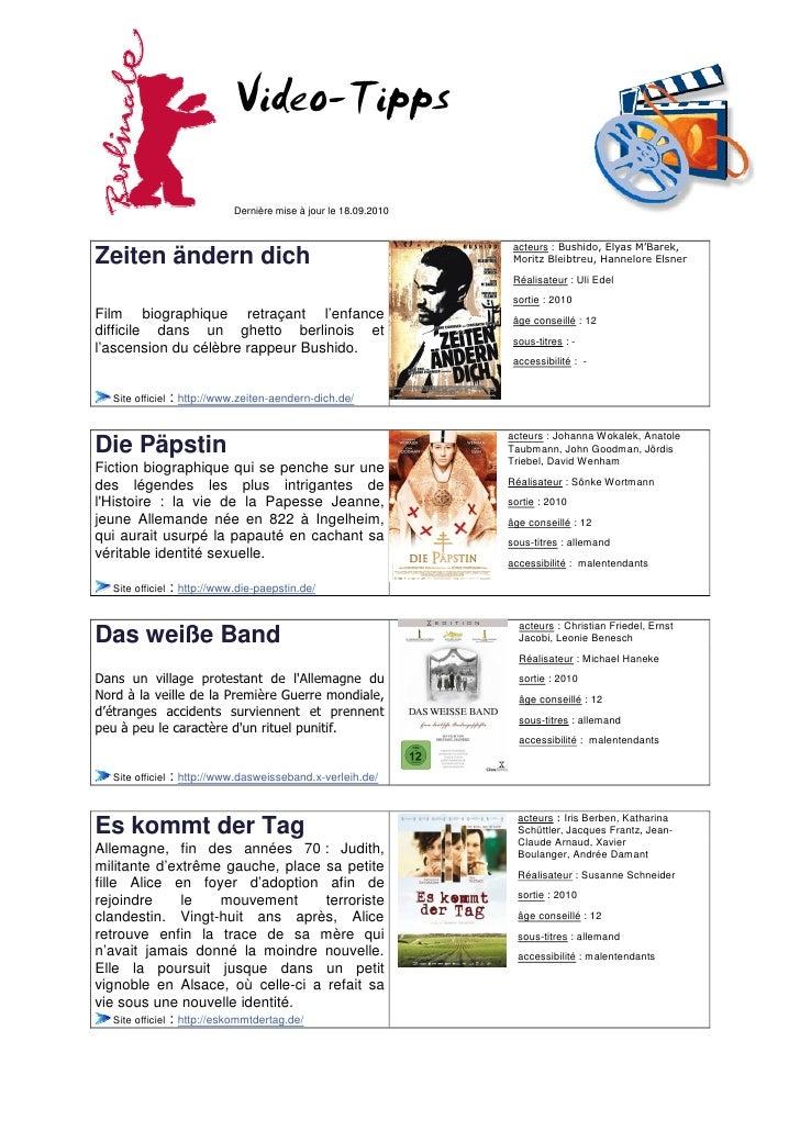 Video-Tipps                                 Dernière mise à jour le 18.09.2010                                            ...
