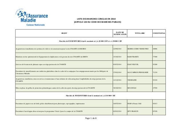 LISTE DES MARCHES CONCLUS EN 2014 (ARTICLE 133 DU CODE DES MARCHES PUBLICS) OBJET DATE DE NOTIFICATION TITULAIRE CODE POST...