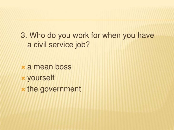 3. Who do you work for when you have  a civil service job? a mean boss yourself the government