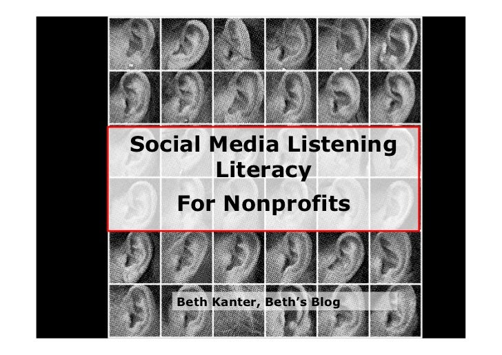Social Media Listening        Literacy    For Nonprofits       Beth Kanter, Beth's Blog