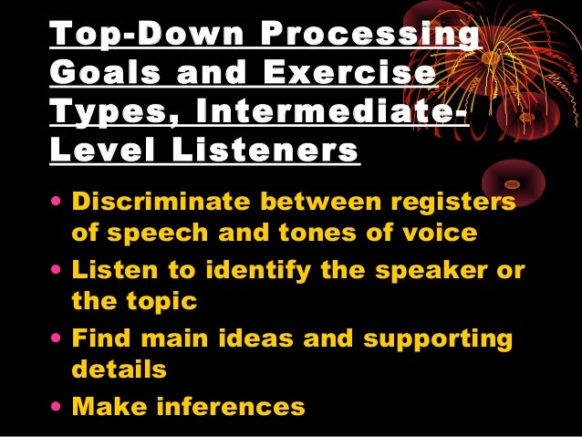 top down processing speech comprehension Top-down processing is a term for when we determine and make conclusions of what we are seeing, not based on what is actually there, but instead what we think, assume, believe, or feel should be there.