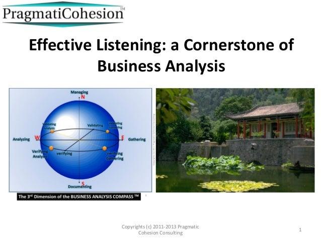 Effective Listening: a Cornerstone of          Business Analysis             Copyrights (c) 2011-2013 Pragmatic           ...