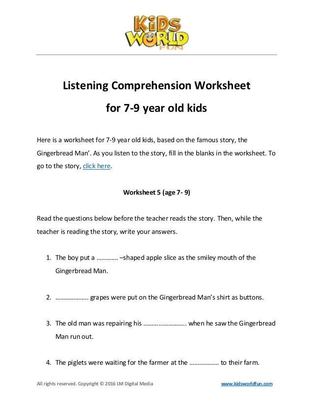 Worksheets Auditory Comprehension Worksheets listening comprehension worksheet for 7 9 year old kids copyright 2016 lm digital media www kidsworldfun com listening