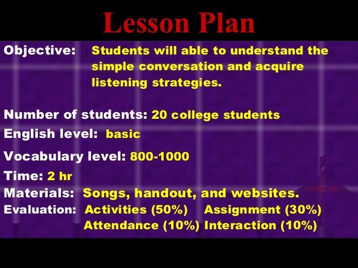Listening Lesson Plan Slide 2