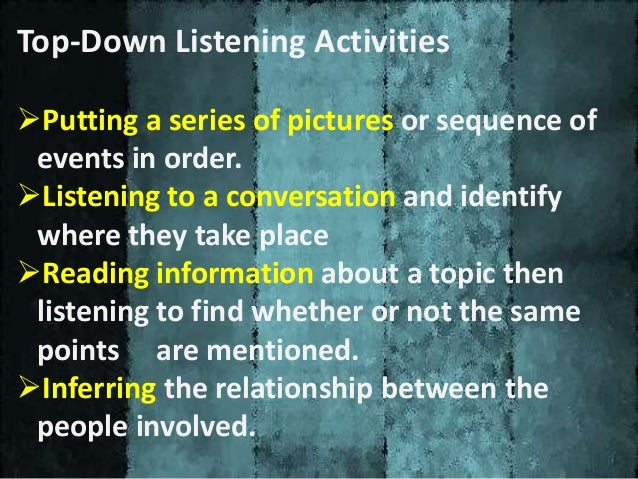Bottom – up Listening Strategies Bottom up strategy is to know about details and segments. It concentrates on forms and st...