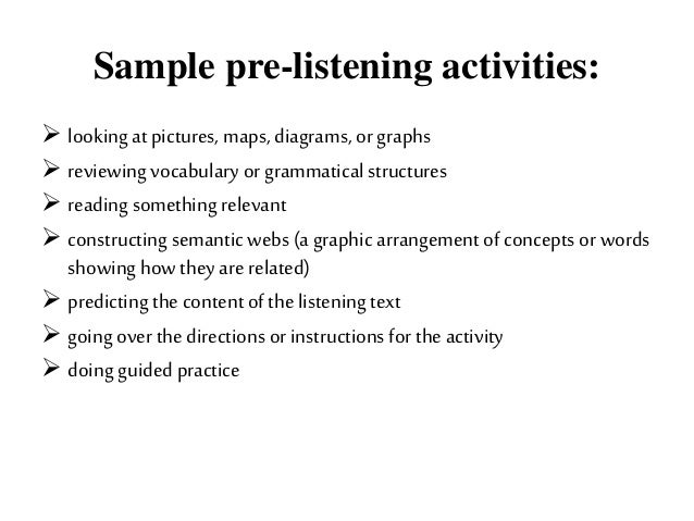 Sample while-listening activities: listeningwith visuals filling in graphsandcharts following a route on a map checkin...