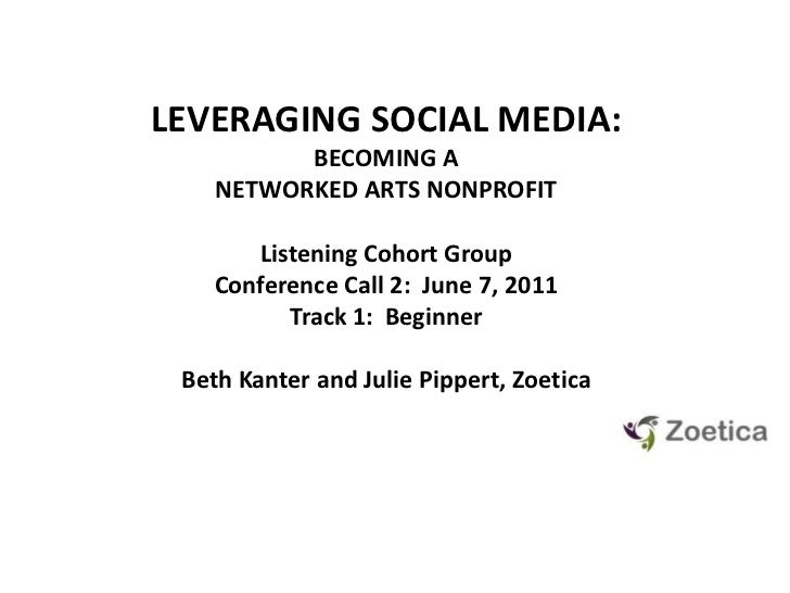 LEVERAGING SOCIAL MEDIA: <br />BECOMING A NETWORKED ARTS NONPROFIT<br />Listening Cohort GroupConference Call 2:  June 7, ...