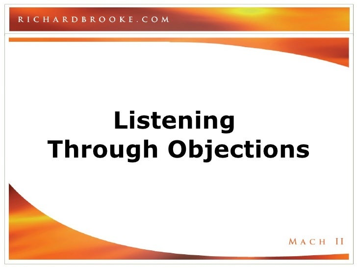 Listening  Through Objections