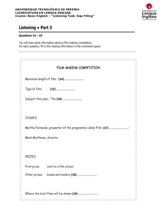 Listening practice (gap filling)