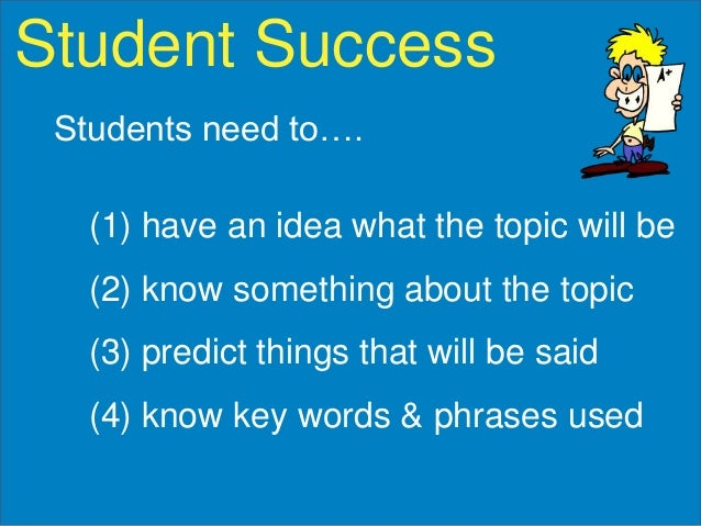 Student Success Students need to….  (1) have an idea what the topic will be (2) know something about the topic (3) predict...