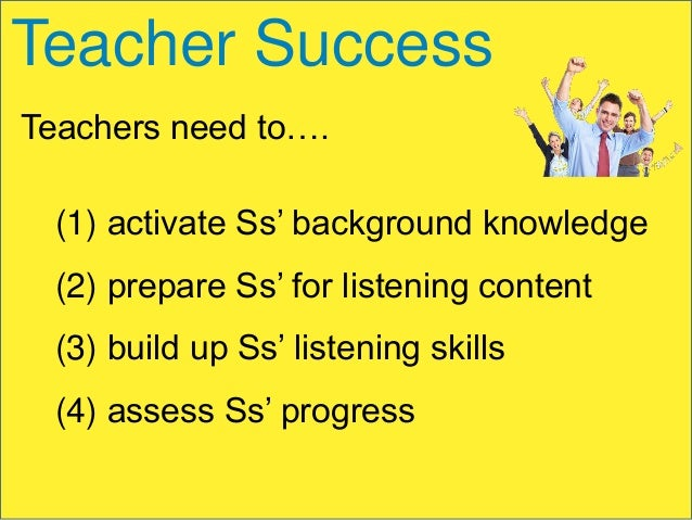 Teacher Success Teachers need to….  (1) activate Ss' background knowledge (2) prepare Ss' for listening content (3) build ...