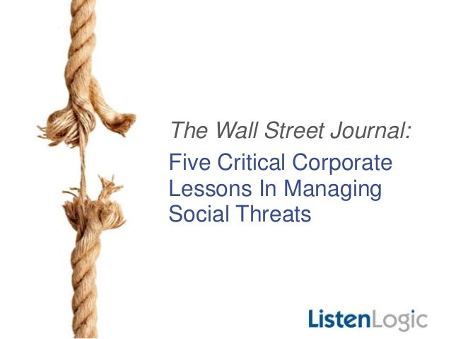 The Wall Street Journal: Five Critical Corporate Lessons In Managing Social Threats