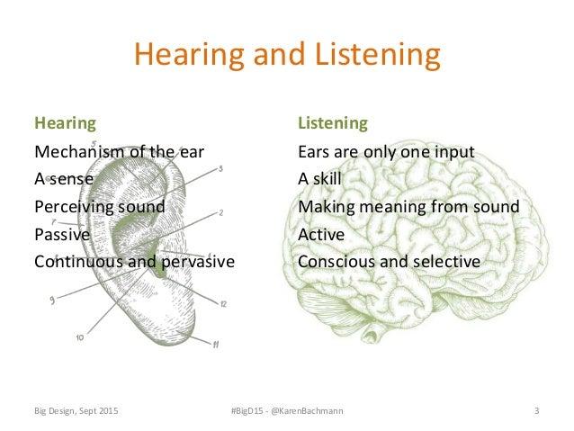 Listening depends on more than just the hearing sense Big Design, Sept 2015 #BigD15 - @KarenBachmann 4