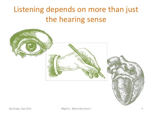 How we listen • Listening is unique to each person • Active or Conscious • Inner • Outer • Created • Focused Big Design, S...