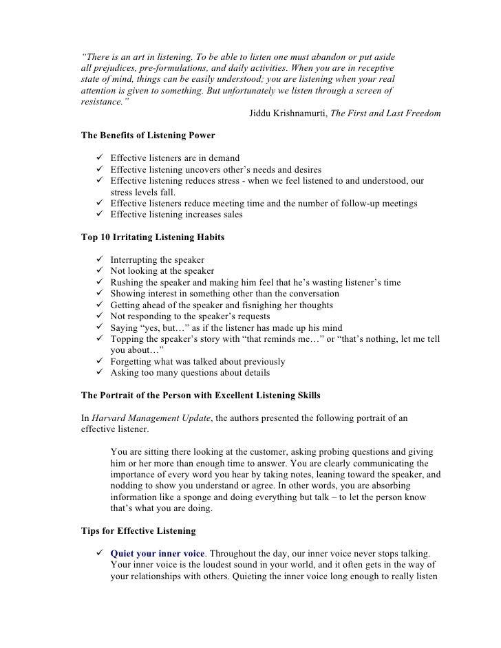 reflective essay on effective listening