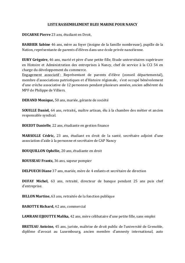 LISTE  RASSEMBLEMENT  BLEU  MARINE  POUR  NANCY      DUCARNE  Pierre  23  ans,  étudiant  en  Dr...