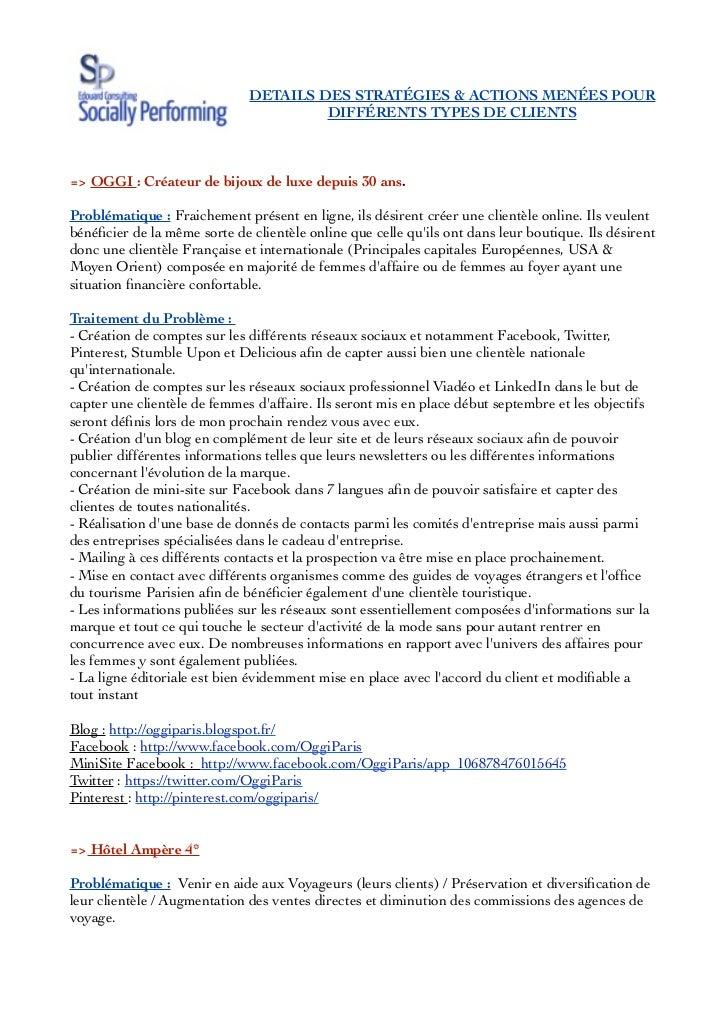 DETAILS DES STRATÉGIES & ACTIONS MENÉES POUR                                       DIFFÉRENTS TYPES DE CLIENTS=> OGGI : Cr...
