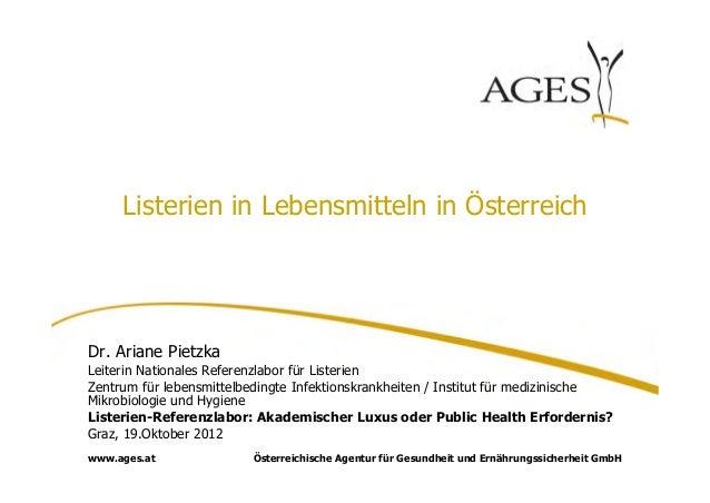 Listerien in Lebensmitteln in ÖsterreichDr. Ariane PietzkaLeiterin Nationales Referenzlabor für ListerienZentrum für leben...