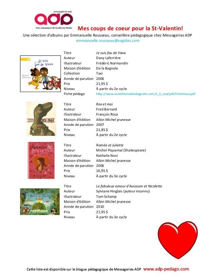 Liste coups de coeur albums primaire pour la Saint-Valentin Slide 2