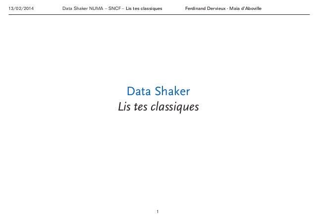 13/02/2014  Data Shaker NUMA – SNCF– Lis tes classiques  Ferdinand Dervieux ∙ Maïa d'Aboville  Data Shaker Lis tes ...
